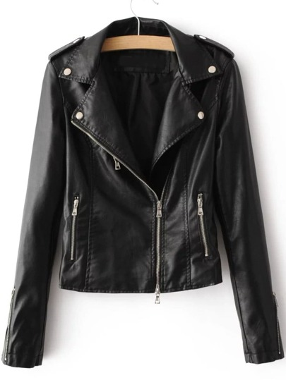 Black Oblique Zipper PU Moto Jacket