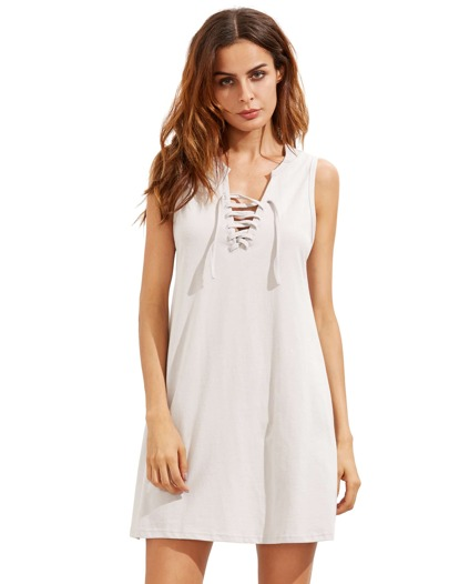 Light Grey Sleeveless Lace Up Vest Dress
