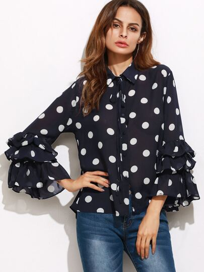 Black Polka Dot Print Layered Ruffle Sleeve Blouse
