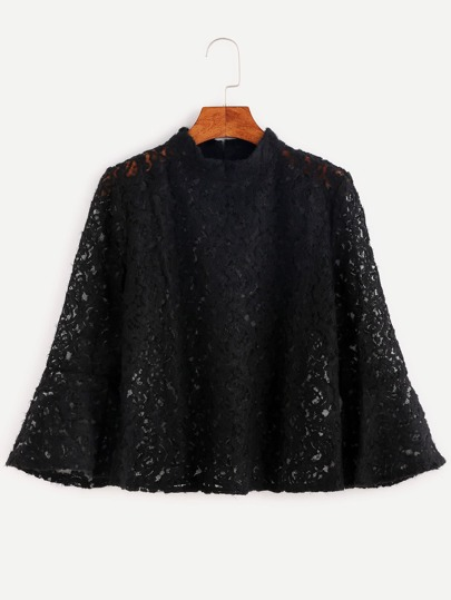 Mock Neck Bell Sleeve Lace Blouse