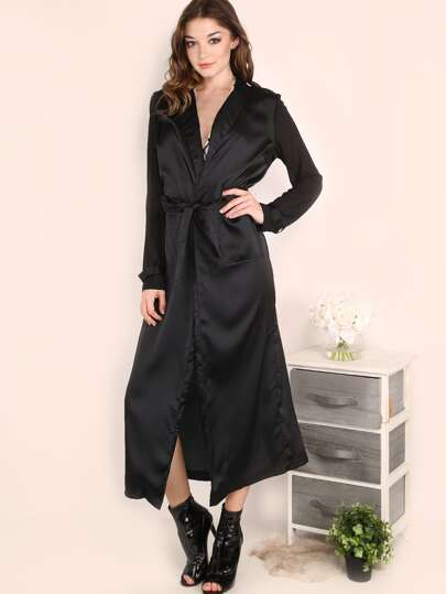 Black Shawl Collar Satin Wrap Coat With Pocket