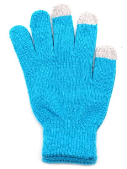 Lake Blue Knit Telefingers Gloves
