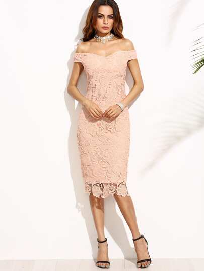 Pink Embroidered Lace Overlay Off The Shoulder Dress