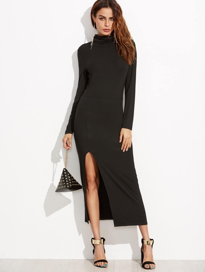 Black Cowl Neck High Slit Sheath Dress