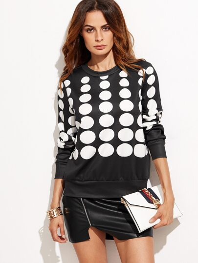 Black Polka Dot Print Sweatshirt