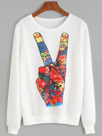 White Gesture Print Sweatshirt