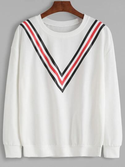 White Striped Trim Drop Shoulder Seam Sweatshirt