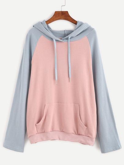 Contrast Raglan Sleeve Hooded Sweatshirt