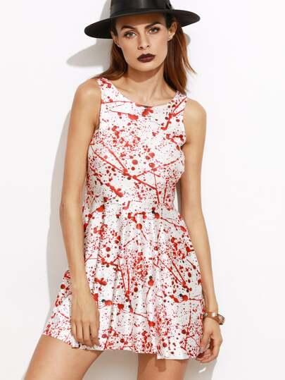 White Blood Print Sleeveless Dress
