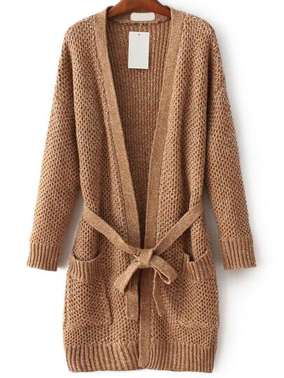 Khaki Long Sweater Coat With Self Tie
