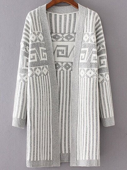 Grey Striped Drop Shoulder Long Cardigan
