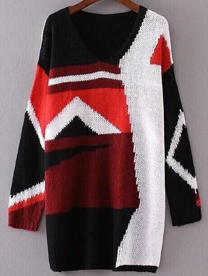 Color Block V Neck Loose Sweater