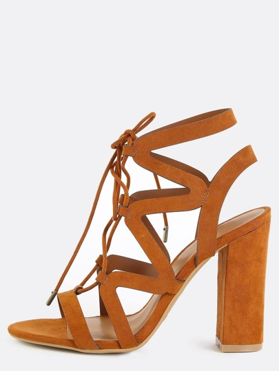 Strappy Suede Chunky Heels CHESTNUT