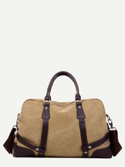 Khaki PU Trim Canvas Handbag With Strap