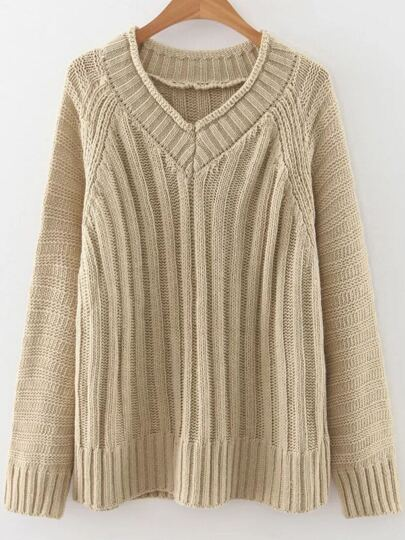 Khaki V Neck Raglan Sleeve Sweater