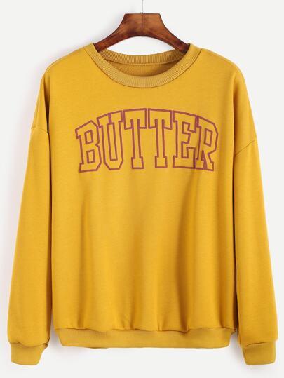 Yellow Letter Print Drop Shoulder Sweatshirt