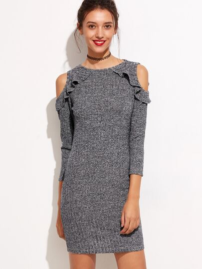 Grey Marled Knit Frill Trim Open Shoulder Dress