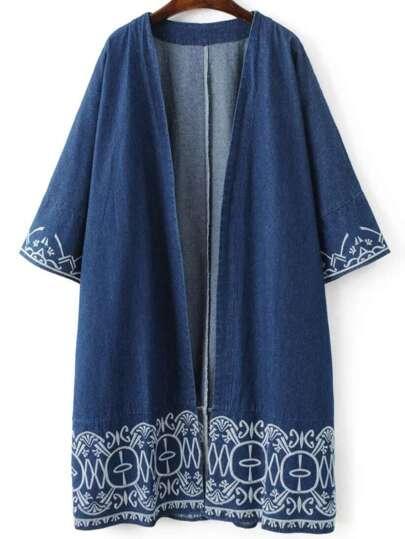 Blue Embroidery Trim Open Front Denim Coat