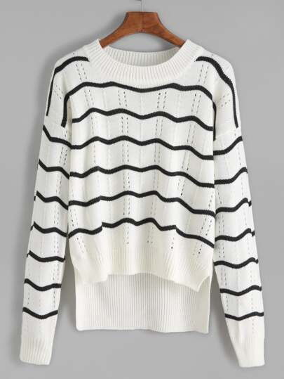 White Wave Pattern High Low Eyelet Sweater