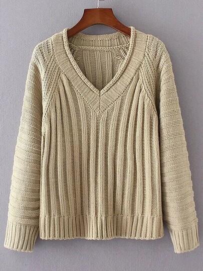 Khaki V Neck Loose Sweater