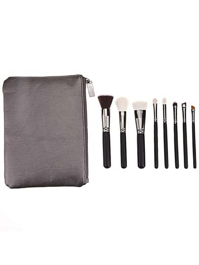 8PCS Black Professional Makeup Brush Set With Grey Bag