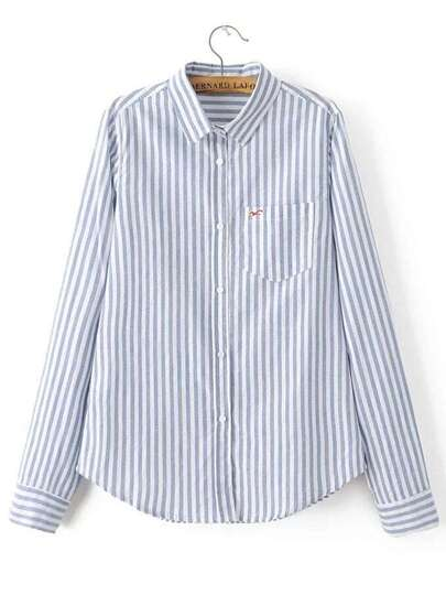 Blue Vertical Striped Seagull Embroidered Pocket Blouse