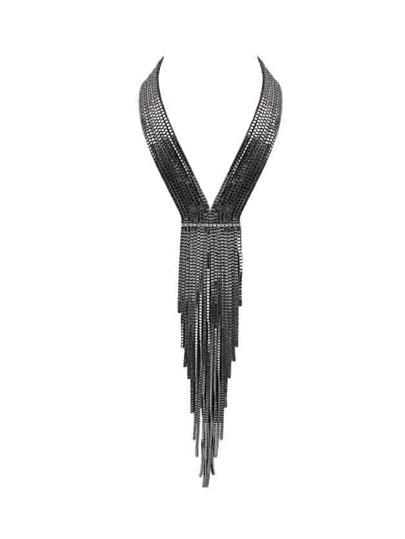 Collier multicouche en taupe avec chaîne longue - noir