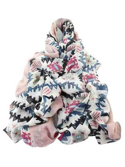 Echarpe longue imprimé femelle en coton en style d'automne - rose