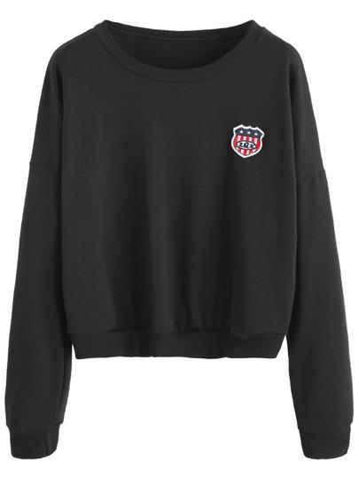 Black Embroidered Badge Patch Crop Sweatshirt