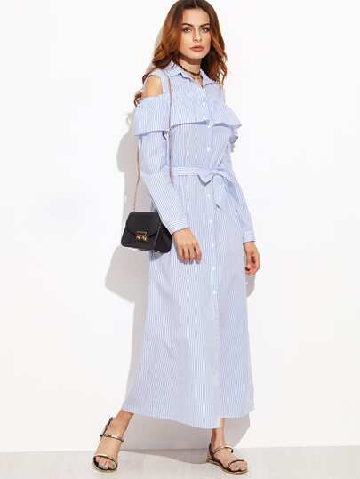 Blue Vertical Striped Open Shoulder Ruffle Shirt Dress