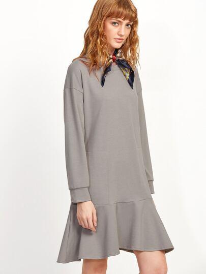 Grey Drop Shoulder Ruffle Hem Dress