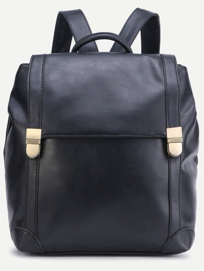 Black PU Double Buckle Flap Backpack