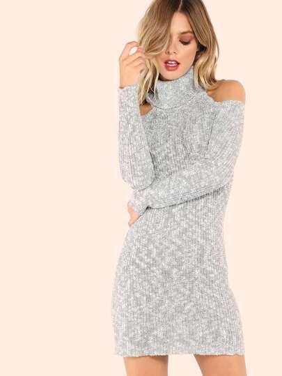 Peppered Mock Neck Cold Shoulder Sweater Dress OFF WHITE BLACK