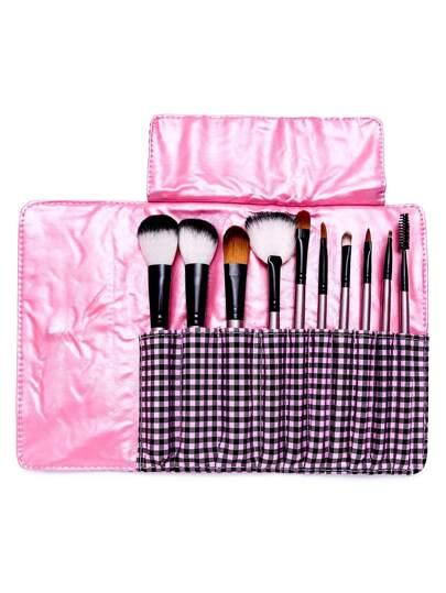 10PCS Deep Pink Professional Makeup Brush Set With Gingham Bag