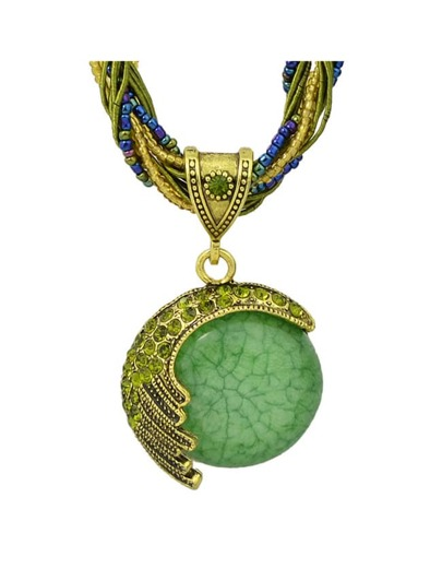 Collana Con Pendente Catena Perlina - Verde