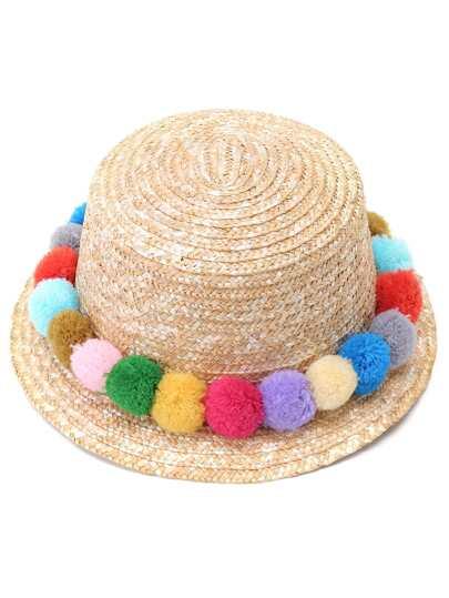 Chapeau de paille avec pompons