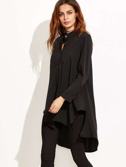 Black Stand Collar High Low Blouse