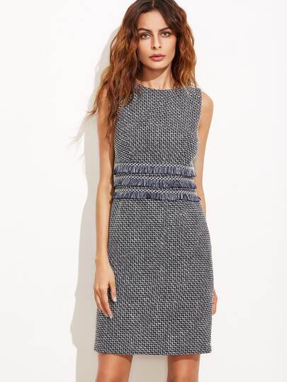 Navy Tweed Sheath Dress With Fringe Tape Detail