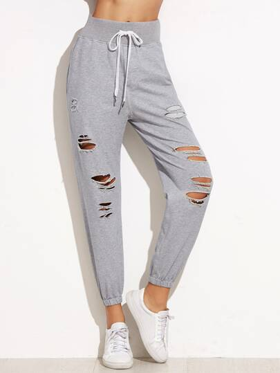 Heather Grey Ripped Elastic Hem Drawstring Pants