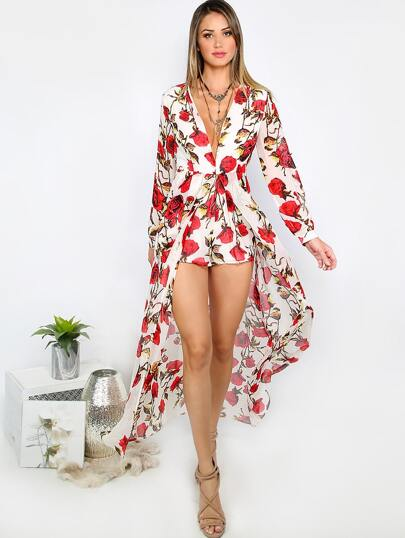Floral Print Deep V Neck Long Sleeve Jumpsuit