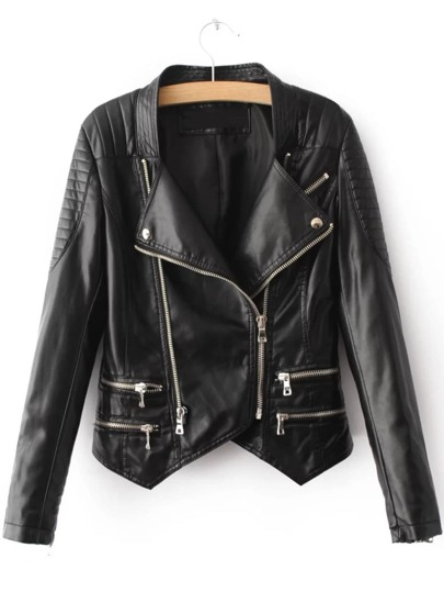 Black Zipper Embellished Asymmetrical PU Jacket