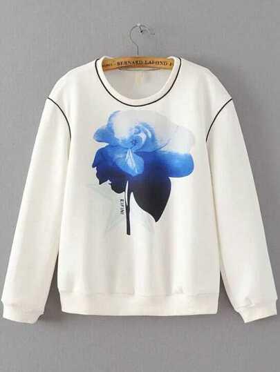 White Floral Print Round Neck Sweatshirt