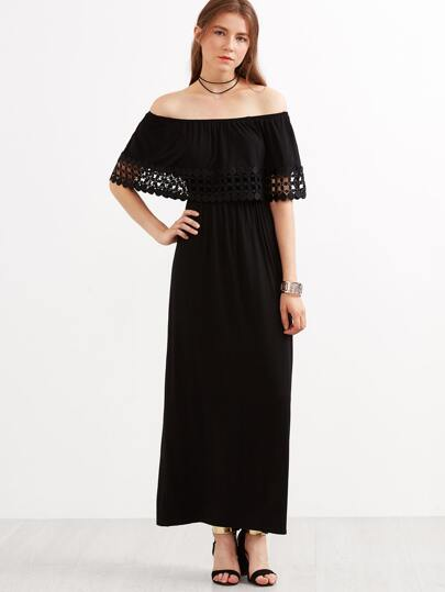 Black Dotted Crochet Trim Off The Shoulder Ruffle Dress