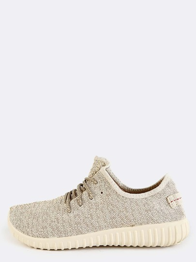 Textured Sole Flyknit Sneakers NATURAL