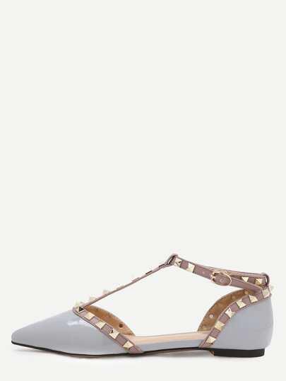 Scarpe senza tacco cinghia a T con rivetti decorati in ecopelle - grigio