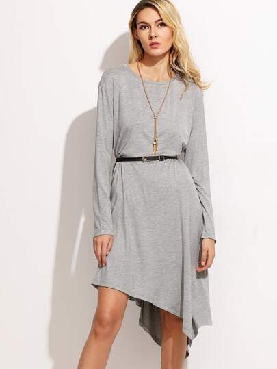 Heather Grey Drop Shoulder Asymmetric Tee Dress