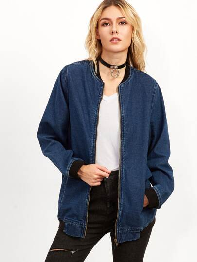 Blue Contrast Trim Zip Up Denim Jacket