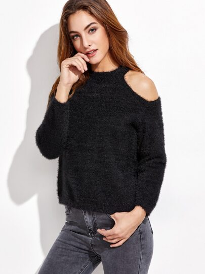 Black Open Shoulder Fuzzy Sweater