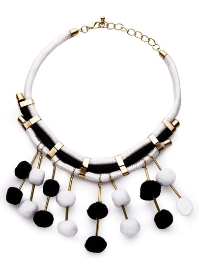 Black And White Pom Pom Fringe Statement Necklace