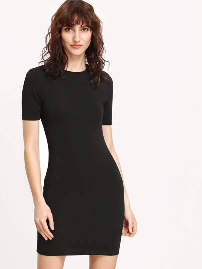 Black Crew Neck Bodycon Dress